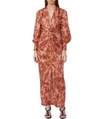 women's significant other claribell floral long sleeve maxi dress, size 4 - brown