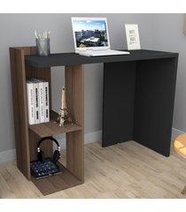 mesa escrivaninha sense 1 prateleira nogueira/preto - appunto