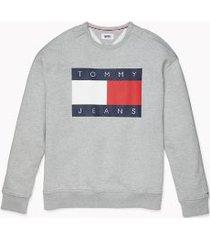 tommy hilfiger men's adaptive logo flag sweatshirt metal grey heather - m