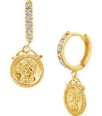 14k gold vermeil sterling silver & crystal drop earrings