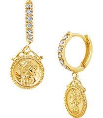 14k gold vermeil sterling silver & crystal drop earrings