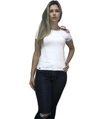 camiseta hifen com abertura no ombro branca - branco - feminino - algodã£o - dafiti