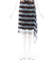 dries van noten striped silk asymmetric skirt purple/multicolor sz: m