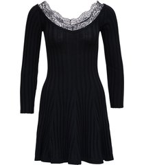 red valentino black wool and lace dress