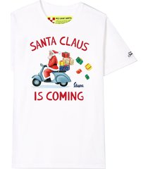 mc2 saint barth t-shirt boy white santa claus is coming print - vespa special edition ®