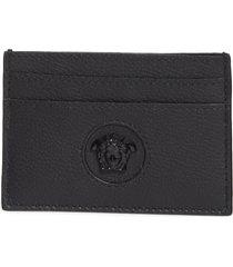 versace medusa leather card case in black-black-versace gold at nordstrom