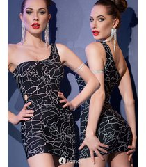 * chilirose zwart jurkje met patroon in neon wit