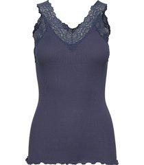 organic top v-neck regular w/lace t-shirts & tops sleeveless blå rosemunde