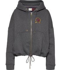 hcw crest zip throug hoodie trui grijs hilfiger collection
