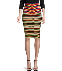 striped ribbed pencil skirt