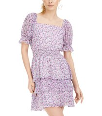 leyden printed square-neck tiered fit & flare dress