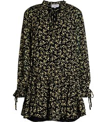 floral tie-front peasant dress