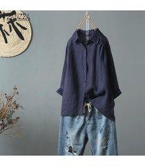 zanzea más el tamaño de las mujeres camisa de algodón étnico tops turn down cuello de la blusa de gran tamaño tops -azul marino