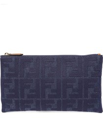 fendi blue denim pouch with embossed monogram