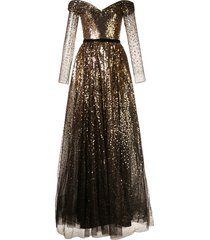 marchesa notte off-the-shoulder sequin gown - gold
