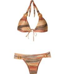 brigitte striped buckle embellished bikini set - yellow