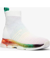mk sock sneaker kendra in mesh e maglia stretch - arcobaleno (bianco) - michael kors
