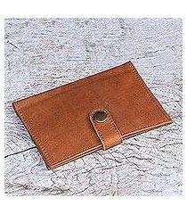 leather passport wallet, 'gringsing getaway in brown' (indonesia)