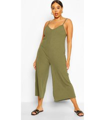 plus ribbed v neck culotte jumpsuit, khaki