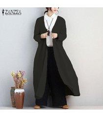 zanzea manga larga bolsillos del abrigo frente abierto con volantes sólido ajuste delgado ocasional outwear algodón de las señoras de lino cardigan más el tamaño de la llamarada -negro