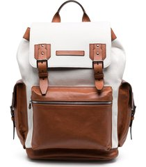 brunello cucinelli colour-block drawstring backpack - neutrals