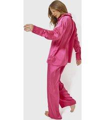 conjunto pijama missguided oversized satin  fucsia - calce oversize