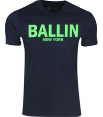 ballin est. 2013 heren t-shirt regular fit navy neon groen