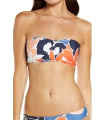 women's seafolly sun dancer bustier bandeau bikini top, size 12 us - blue