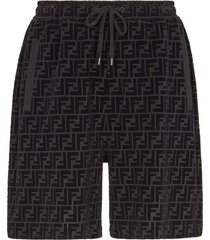 ff logo print bermuda shorts, black