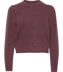 brooky knit volumen o-neck stickad tröja lila second female