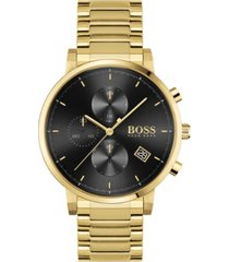 boss men's chronograph integrity gold-tone stainless steel bracelet watch 43mm