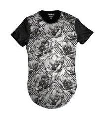 camiseta di nuevo longa casual florida vintage anos 80 preta