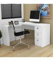 mesa para escritório 3 gavetas branco me4101 - tecno mobili