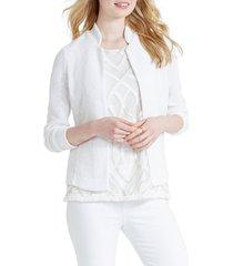 women's nic+zoe morning dew jacket, size large - white