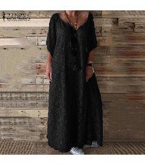 zanzea vestido largo largo de croché de encaje con cuello en v vestido de vacaciones de verano en la playa talla grande -negro