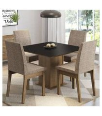 conjunto sala de jantar madesa cris mesa tampo de madeira com 4 cadeiras rustic/preto/fendi rustic