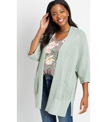 maurices womens solid knit pocket cardigan green