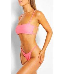 square neck back detail strappy crop bikini, coral