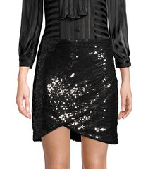 fidela faux wrap sequin skirt