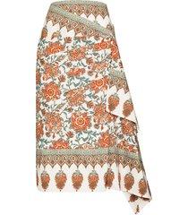 johanna ortiz floral-print wraparound midi skirt - white