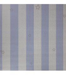kit 2 rolos de papel de parede fwb azul e branco com listras prata - azul/branco/prata - dafiti