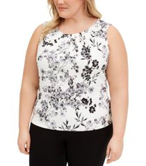 calvin klein plus size pleated-neck top