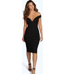 bodycon midi jurk met open schouders en hartvormige hals, zwart