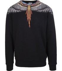 marcelo burlon man black and orange grizzly wings sweatshirt