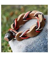 braided leather bracelet, 'crazy about you' (mexico)