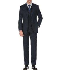 english laundry men's slim-fit plaid 3-piece suit - navy - size 46 r