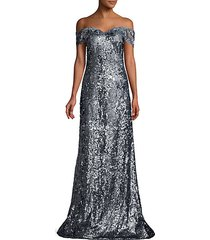 sequin off-the-shoulder glitter lace gown