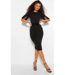 midi jurk met mouwsplit, kokerrok en ceintuur, black