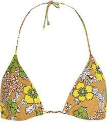 floral-print halterneck bikini top