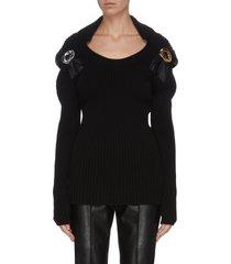 hooded metal buckle embellished rib knit top